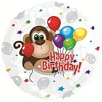 Шар 18'' (45см)  круг     с днем рождения обезьянка  серебро