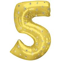 Шар 42'' (106см)  цифра      в упаковке золото