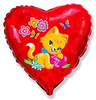 Шар 18'' (45см)  сердце     влюбленный котенок красный