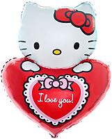 Шар 32'' (81см)  фигура     котенок сердечко с бантом