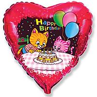 Шар 18'' (45см)  сердце     с днем рождения коты с тортом и шариками красный