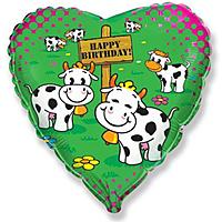 Шар 18'' (45см)  сердце     с днем рождения коровы зеленый
