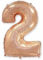 Шар 40'' (102см)  цифра металлик   rose gold