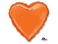 Шар 18'' (45см)  сердце металлик orange