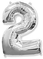 Шар 40'' (106см)  цифра      серебро