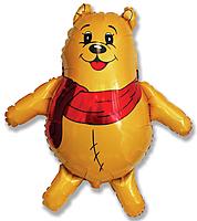 Шар 34'' (86см)  фигура     медвежонок с красным шарфом желтый
