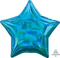 Шар 19'' (48см)  звезда металлик  см  блеск синяя