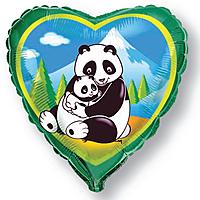 Шар 18'' (45см)  сердце     панды зеленый