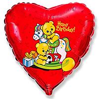Шар 18'' (45см)  сердце     с днем рождения мишки  лошадке красный