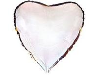Шар 18'' (45см)  сердце металлик silver