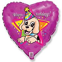 Шар 18'' (45см)  сердце     с днем рождения щенок в колпаке фуше