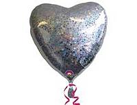 Шар 18'' (45см)  сердце silver Голография