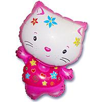 Шар 30'' (76см)  фигура     котенок в цветах фуше