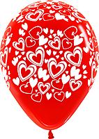 Шар 14'' (36см)     сердца   кристалл