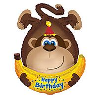 Шар 34'' (86см)  фигура     обезьянка с днем рождения коричневый