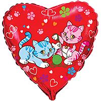 Шар 18'' (45см)  сердце     милые котята красный