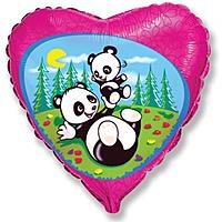 Шар 18'' (45см)  сердце     забавная панда фуше