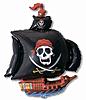 Воздушный шар Шар 41'' (104см)  фигура     пиратский корабль черный