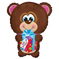 Шар 22'' (55см)  фигура     мишка с подарком коричневый