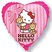 Шар 18'' (45см)  сердце     котенок лучшие друзья розовый