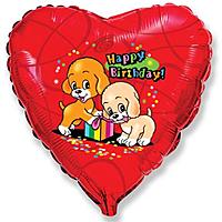 Шар 18'' (45см)  сердце     с днем рождения собачки с подарком красный
