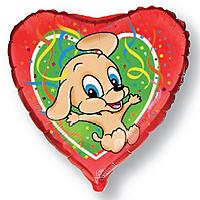 Шар 18'' (45см)  сердце     прыгающая собака красный