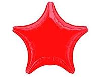 Шар 19'' (48см)  звезда металлик red