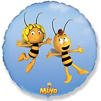 Шар 18'' (45см)  круг     летящая пчела майя голубой
