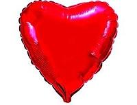 Шар 18'' (45см)  сердце металлик red