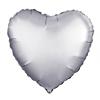 Воздушный шар Шар 18'' (45см)  сердце платина сатин