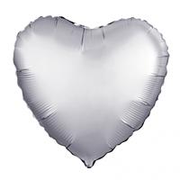 Шар 18'' (45см)  сердце платина сатин