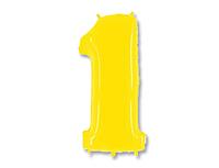 Шар 40'' (106см)  цифра    яркий желтый