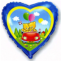 Шар 18'' (45см)  сердце     влюбленные мишки в машине синий