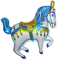 Шар 39'' (99см)  фигура     лошадь ярмарочная синий
