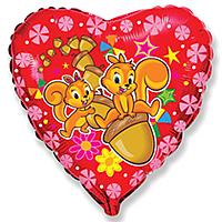 Шар 18'' (45см)  сердце     счастливые белки красный