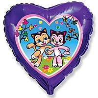Шар 18'' (45см)  сердце     счастливые котята фиолетовый