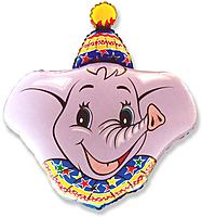 Шар 37'' (93см)  фигура     голова слона розовый