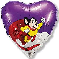 Шар 18'' (45см)  сердце     летящая могучая мышь фиолетовый