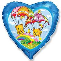 Шар 18'' (45см)  сердце     летящие мишки синий