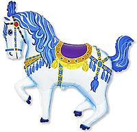 Шар 36'' (91см)  фигура     лошадь карусельная синий