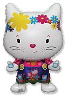 Шар 32'' (81см)  фигура     маленький дружелюбный котенок белый