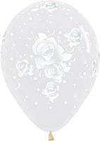 Шар 14'' (36см)     элегантные розы   кристалл