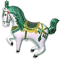 Шар 36'' (91см)  фигура     лошадь карусельная зеленый