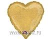 Воздушный шар Шар 18'' (45см)  сердце gold Голография