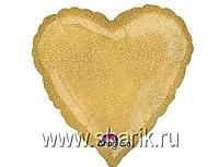 Шар 18'' (45см)  сердце gold Голография