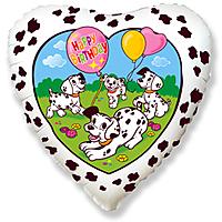 Шар 18'' (45см)  сердце     с днем рождения далматинцы белый