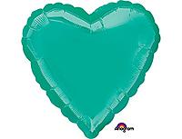 Шар 18'' (45см)  сердце металлик teal
