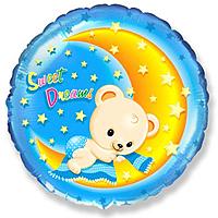 Шар 18'' (45см)  круг     сладкие мечты мишки голубой