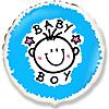Воздушный шар Шар 18'' (45см)  круг     малышмальчик облака голубой