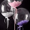 Воздушный шар Шар 18'' (45см)  кристалл  баблс с перьями